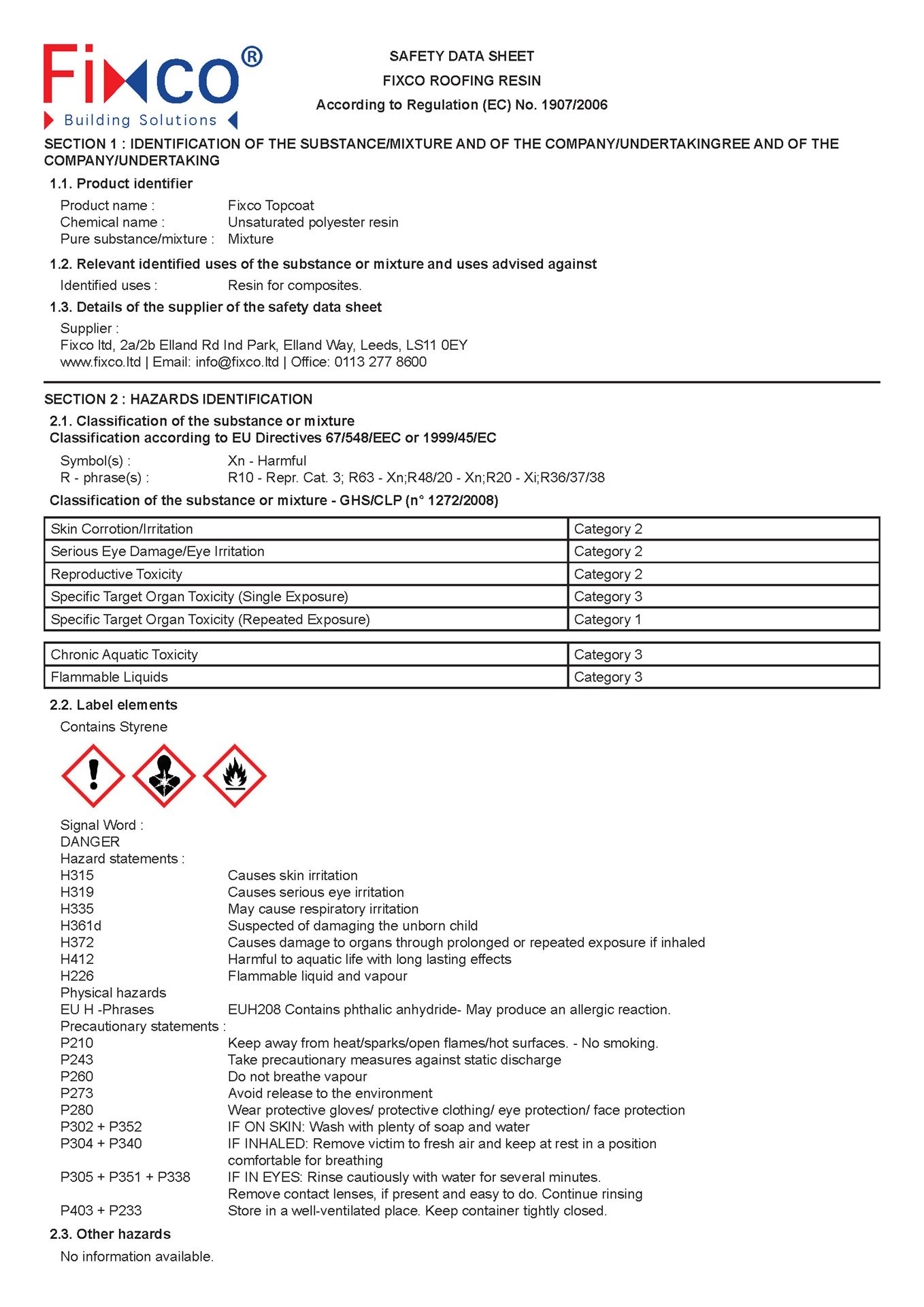 Fixco GRP Roofing Resin - Safety Data Sheet