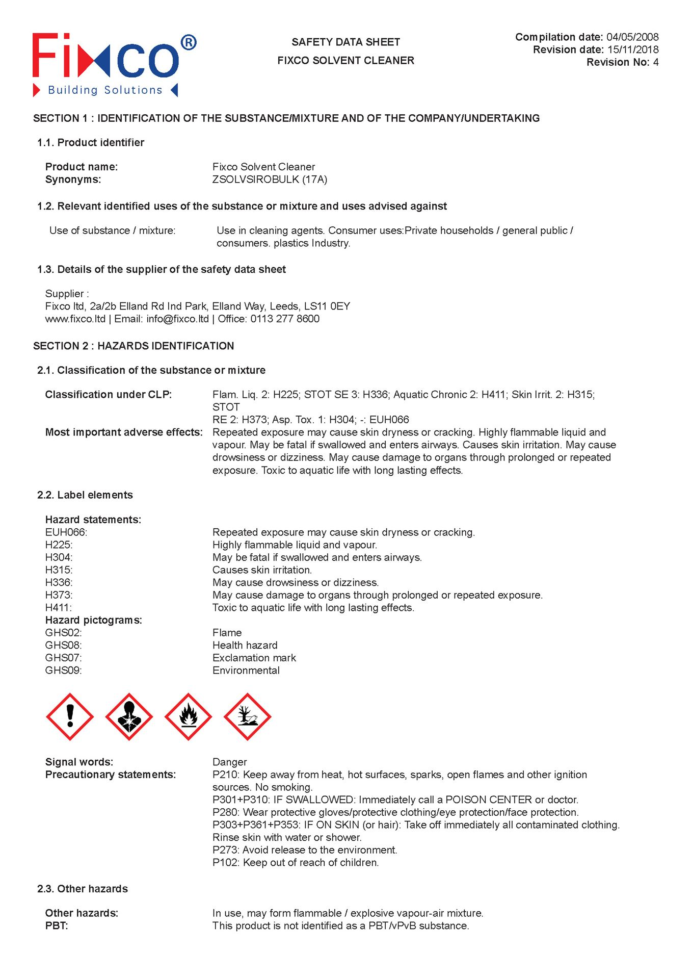 Fixco Solvent Cleaner - Safety Data Sheet