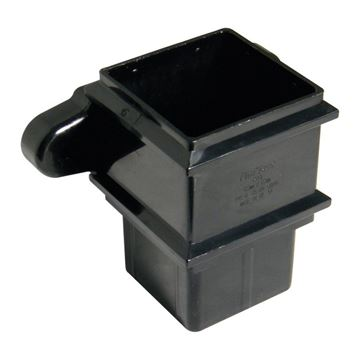 Picture of FLOPLAST SQUARE PIPE SOCKET WITH FIXING LUGS (BLACK)
