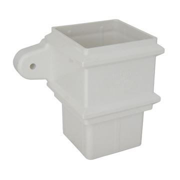 Picture of FLOPLAST SQUARE PIPE SOCKET WITH FIXING LUGS (WHITE)